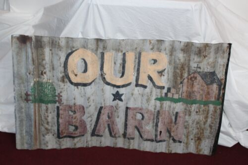 Antique Hand Painted Metal Farm Sign OUR BARN Roofing Shingle Country Decor