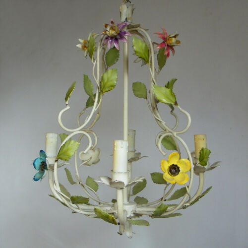 VINTAGE FLORENTINE ITALIAN TOLE CAGE CHANDELIER CEILING LIGHT 4 ARMS FLOWERS