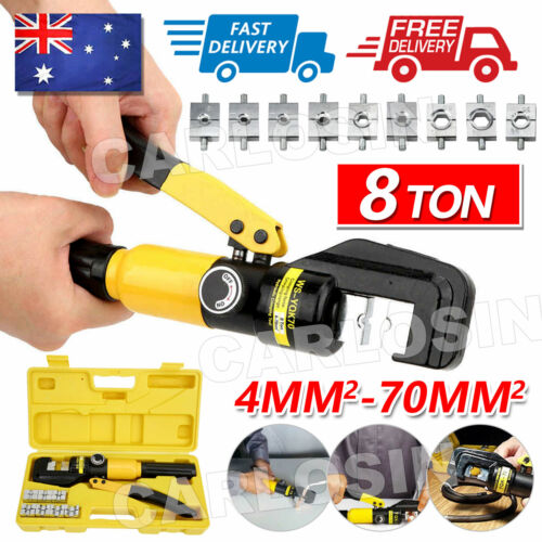 8 Ton Hydraulic Crimper Terminal Wire Cable Lugs Crimping Tool Kit 9 Dies 4-70mm