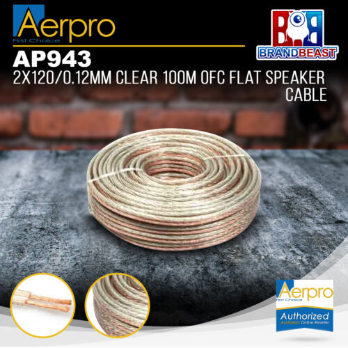 Aerpro AP943 2x120/0.12mm 100m OFC Flat Speaker Cable - Clear