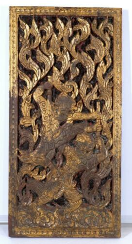 GUC+ 18th19th Century Asian Fighting Warriors Hand Carved Wood Red Glass Mosaic