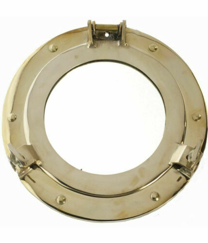 """Solid Brass Ship's Cabin Porthole Mirror 9"""" Round Nautical Wall Decor New"""