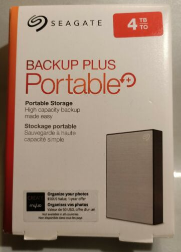 Seagate Backup Plus Portable 4TB External HDD USB 3.0 Silver BRAND NEW IN BOX