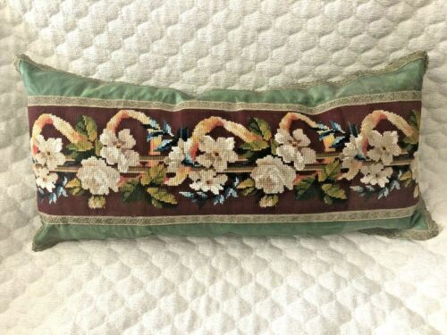 ANTIQUE 19TH C RELIGIOUS NEEDLEPOINT TAPESTRY PILLOW w GOLD TRIM 13 x 27