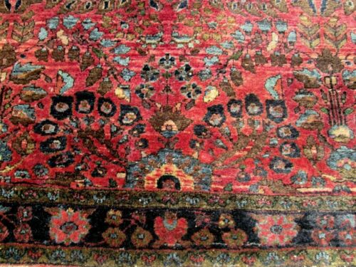 ANTIQUE  SAROUK ORIENTAL RUG_4.1 x 4_EXTREMELY RARE SQUARE SIZE A BEAUTY