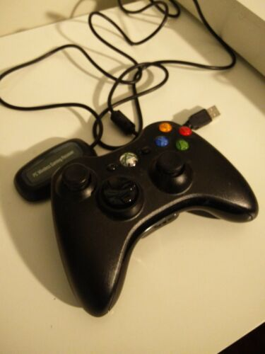 Genuine Microsoft Xbox 360 Black Wireless Controller with PC Connector