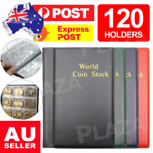 120 Holders Coin Album Collection Book Money Penny Folder Collect Pocket Sleeves