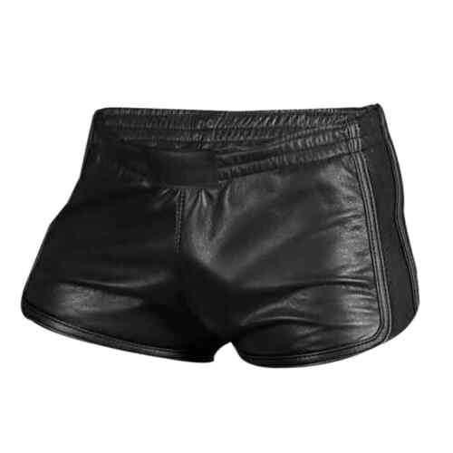 Mens Sexy Real Black Leather Gym Boxer Sports Shorts Cowhide Leather Size(28-48)