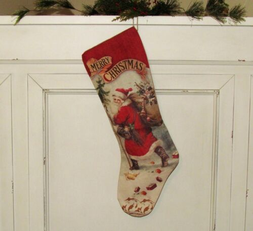 "Primitive Bethany Lowe BELSNICKLE Santa Claus CHRISTMAS 21"" Canvas STOCKING"
