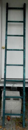"""Antique / Vintage Wooden Ladder - Green - 8' Tall x 16"""" Wide - All Good"""