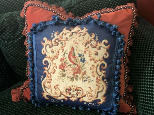 ANTIQUE 19TH CENTURY  FRENCH NEEDLEPOINT TAPESTRY PILLOW w BIRD