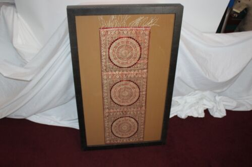 Middle Eastern Chinese Asian Framed Fabric Linen Textile Highly Detailed