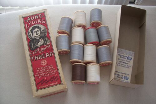 12 Vtg Antique Aunt Lydia's Carpet & Button Thread Wooden Spools w/ Box