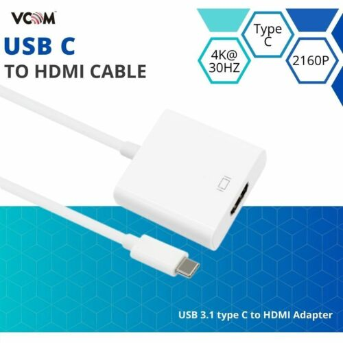 VCOM Type C USB-C to HDMI Adapter Cable High Speed Ultra HD UHD 4K 2160p 1080p
