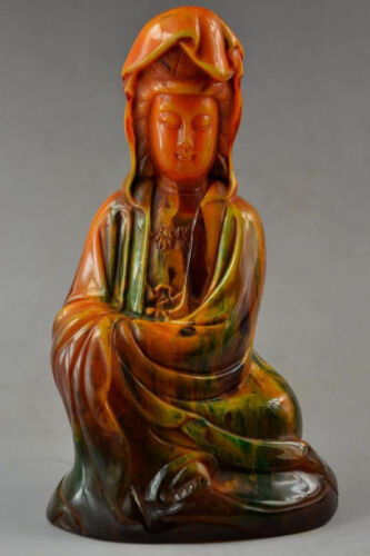 18.5 cm*/Rare amber carving drive evil female guanyin statue of the god of grace
