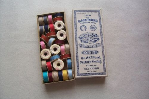 Vtg Antique Clarks Thread Box w/ 36 Pre Wound Colorful Bobbins