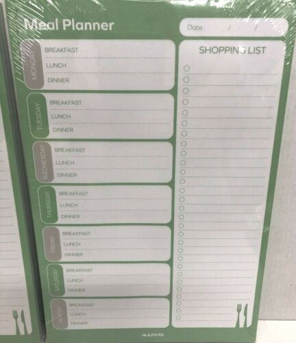 2 X DIETARY MEAL DAILY MENU PLANNER GROCERY SHOPPING LIST PADS,7 DAY WEEK  PAD