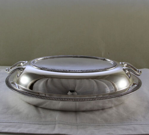 Silver Enree Dish & Cover with Gadroon, Applied Border