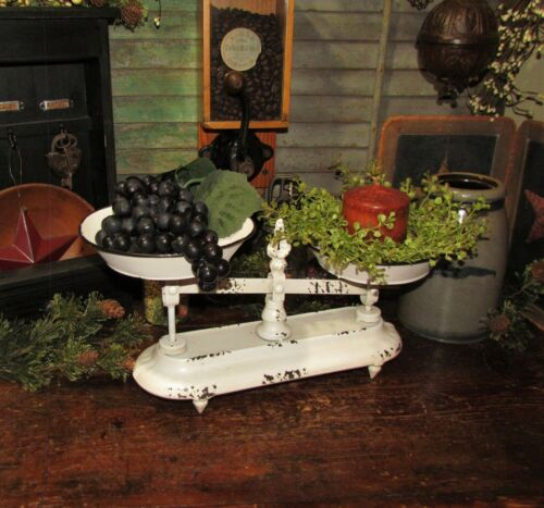 Primitive Antique Vtg Style White General Store Tray Basket Produce Candy Scales