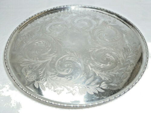 ANTIQUE SILVER LARGE SERVING STAND / TRAY - Cooper Bros - 27cm dia - vg cond