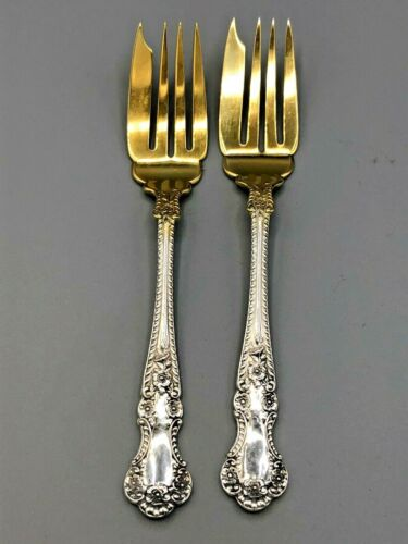 """Cambridge by Gorham Sterling Silver pair of Salad Forks 6"""", gold tines"""