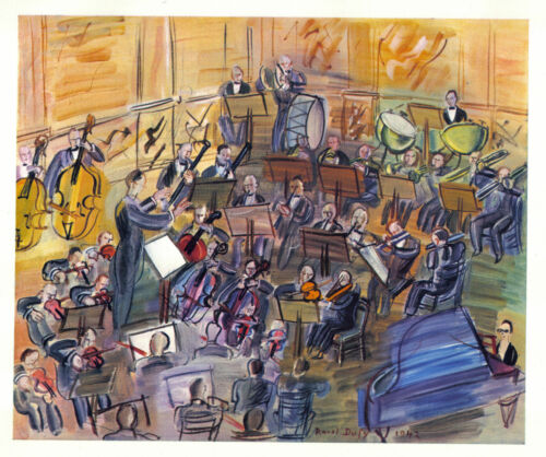 Raoul Dufy 1942 GRAVURE PRINT with COA. perfect ORCHESTRA music gift of RARE ART