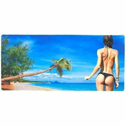 """Extended Mouse Pad Extra Large Non-Slip Water Resistant, Beach Girl, 34.5x15.8"""""""