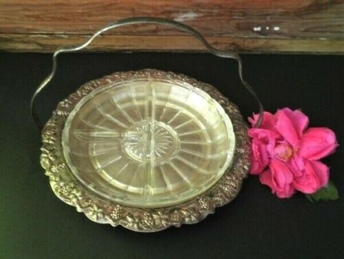 VINTAGE SERVING DISH SILVER PLATED GLASS SECTIONAL DISH HANDLED BASKET GRAPES