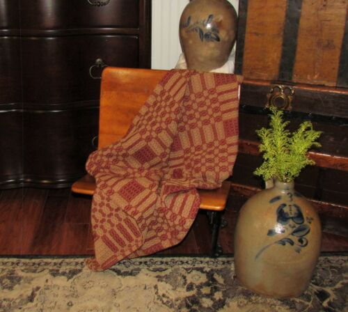 """Prim Antique Vtg Style Cranberry Red Cotton Woven 32"""" COVERLET Square CT66SS"""