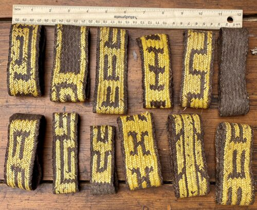 A Good Collection Of 12 Old New Guinea Woven Arm Bands Tribal Art Body Ornam