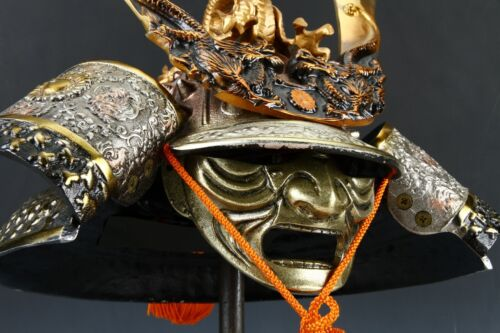Massive Japanese Samurai Helmet -Great Dragon- with a mask Rare