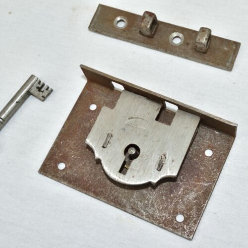 """Large 3"""" Box Lock & Key, steel, Vintage marked """"WARRANTED"""" - New very old stock"""