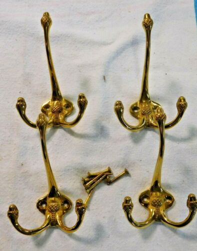 Antique ~Salvage ~ 4 Cast Brass Hat/Coat Hooks New-Old Stock ~  #2563