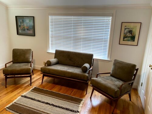 Vintage Mahogany Danish Style Modern Settee and Lounge Arm Chair Set