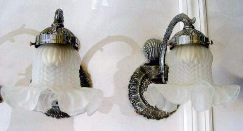 """1 PIECE  5""""x 7"""" Vintage Shell Design Silver Wall Sconce, Spain - 2 AVAILABLE"""