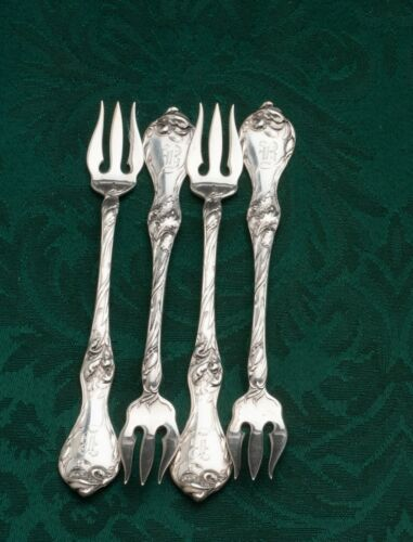 """Les Cinq Fleurs by Reed & Barton Sterling Silver set of 4 Cocktail Forks 5.25"""""""