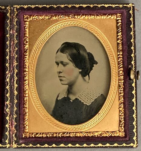 AMBROTYPE OF PRETTY YOUNG WOMAN, 3/4 VIEW, ADELTHA MITCHELL, TAKEN FEB. 17, 1857