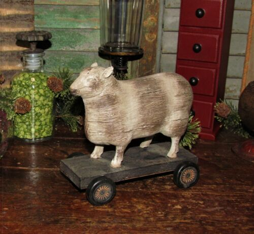 Primitive Antique Vtg Pull Toy Style Country Farm SHEEP Lamb WHEELS Shelf Decor