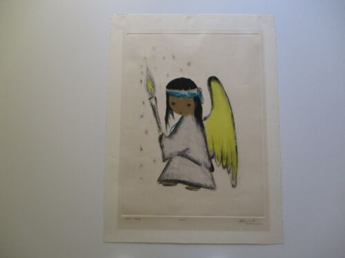 TED ETTORE DE GRAZIA ETCHING LITHOGRAPH RARE ARTIST PROOF 1/1 ANGEL LARGE MOD