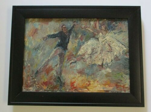 MID CENTURY MODERN CHUNKY OIL PAINTING DANCERS EXPRESSIONISM MODERNISM ABSTRACT