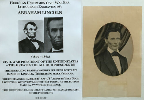 "RARE CIVIL WAR BEARDLESS PRESIDENT ABRAHAM LINCOLN LITHOGRAPH ENGRAVING 6"" x 9""Posters & Prints - 156382"