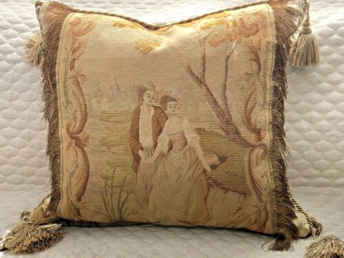 """MAGNIFICENT 19TH C FRENCH NEEDLEPOINT TAPESTRY PILLOW~COURTING COUPLE 24"""" x 24"""""""