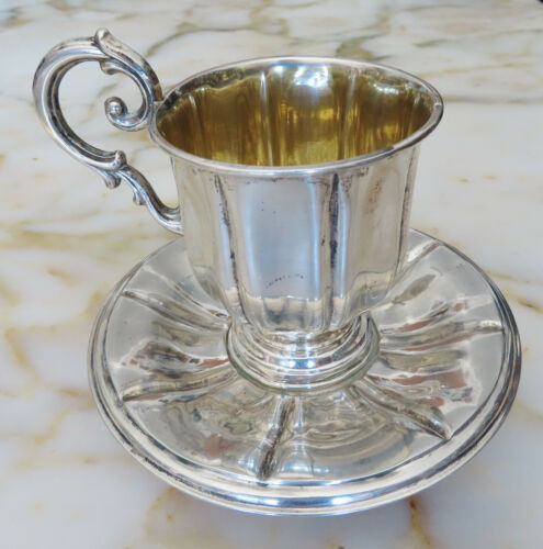 ANTIQUE STERLING SILVER FRENCH CUP AND SAUCER 119.2 gr.