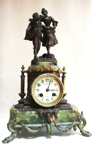 ANTIQUE 1850 FRENCH CLOCK  STATUE ROMANTIC ONYX Base