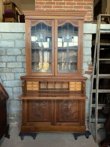 Antique Victorian Secretary Desk/Cabinet With Decorative Stained Glass