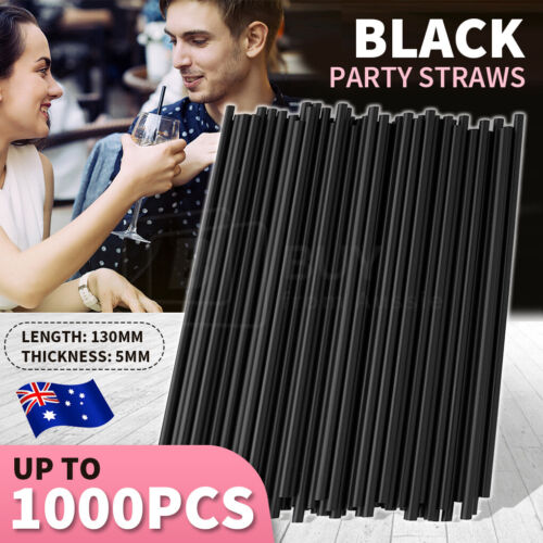 1000pcs  Black Drinking Straw Plastic Disposable Party Straws Straight Tableware