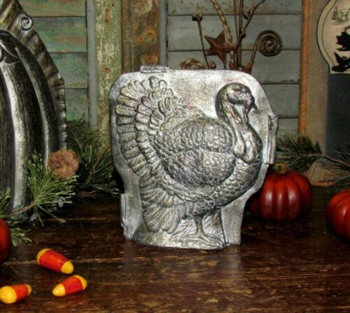 Primitive Antique Vtg Tin Style Turkey Resin Chocolate Candy Mold Shelf Sitter