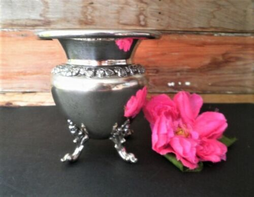VINTAGE JARDINIERE SILVER PLATED BSC SILVER ON COPPER ORNATE SMALL VASE PLANTER