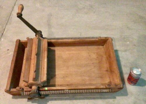 Antique Hand Crank Wood / Cast Iron  BUTTER WORKER , Pat 1875 Dairy Farm Tool