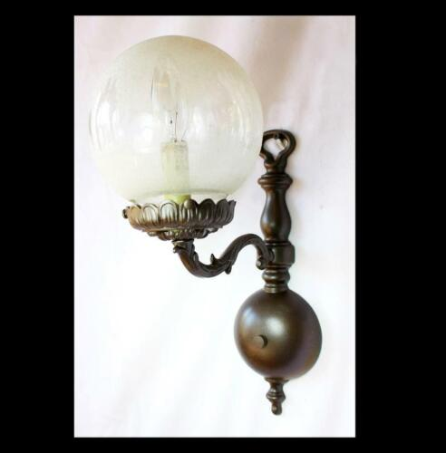 "5"" x 13"" Vintage Colonial 1 light Wall SCONCE, Round Frosted Etched GLASS Globes"